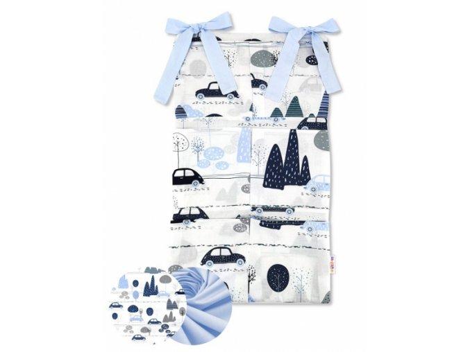 110786 191524 bavlneny kapsar na postylku baby nellys 6 kapes auta v aleji modra