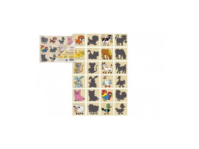 109910 189158 pexeso zviratka a jejich stiny drevo spolecenska hra 12ks v krabicce 16 5x12 5x1 5cm