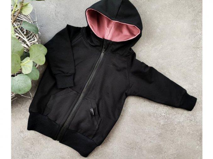 10371 3 mikina zipper black oldpink