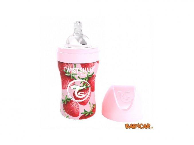 70395 twistshake kojenecka nerezova lahev anti colic 260ml jahoda