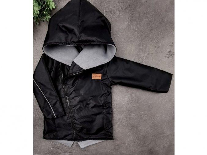 14402 sustakova bunda s microfleece black grey