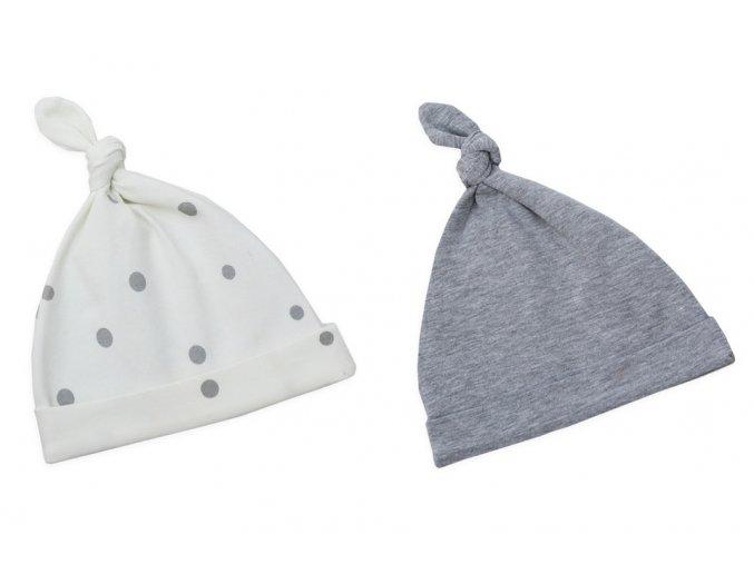 Dětské čepice Sleepee 0-2 měsíce - 2ks pastelová šedá/šedé tečky