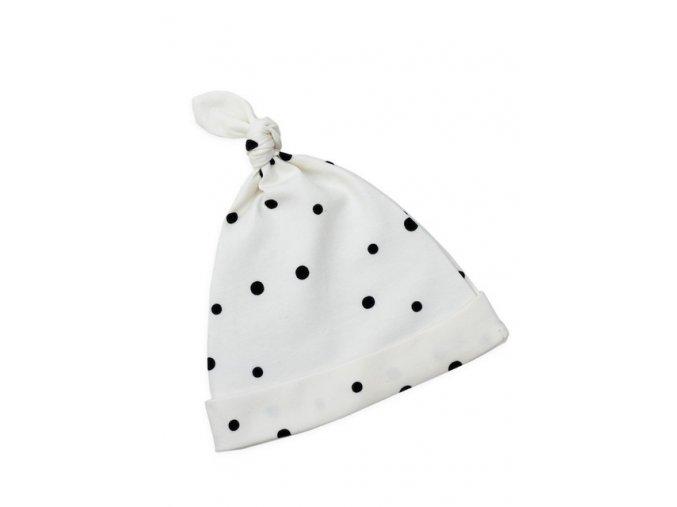 Dětské čepice Sleepee 2-4 měsíce - 2ks černé tečky/šedé tečky