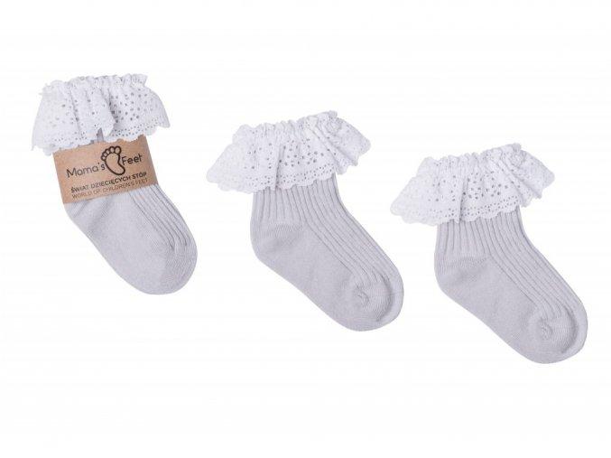 11535 mama s feet detske ponozky vintage love gray sede