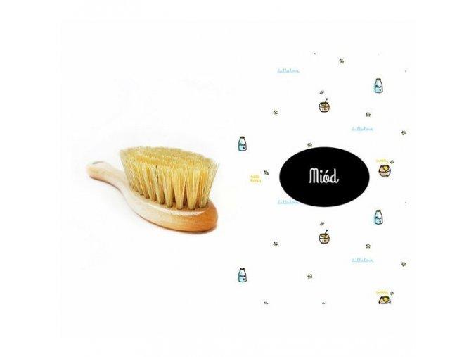 Kartáč na suchou hlavičku s žínkou Med