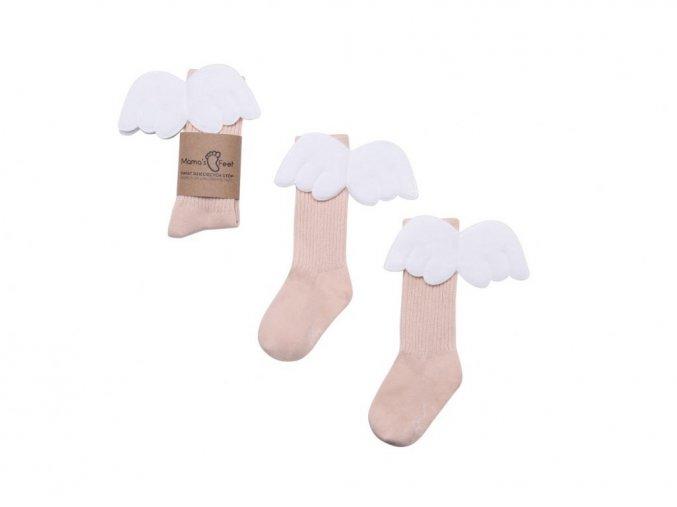 11907 23 mama s feet detske podkolenky s kridelky biscuit angels merunkove