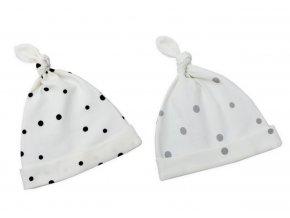 Dětské čepice Sleepee 0-2 měsíce - 2ks černé tečky/šedé tečky