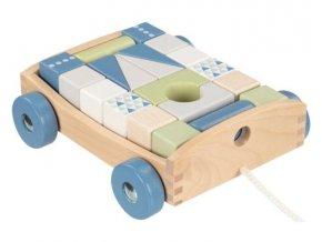 120083 204731 goki edukacni drevena hracka tahaci auticko s kostkami na snurce 17 x 15 x 63 cm modre