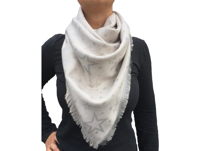 Dámský lesklý šátek s hvězdami béžový