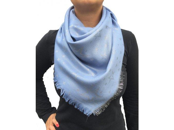 Dámský lesklý šátek s hvězdami světle modrý