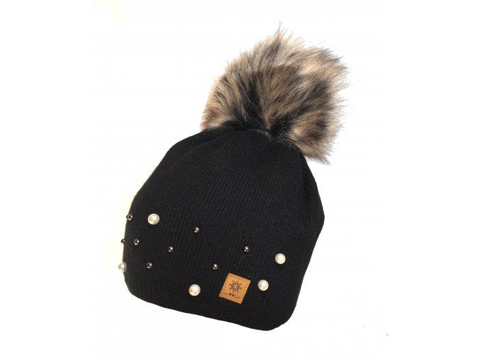 Dámská čepice s perličkami černá