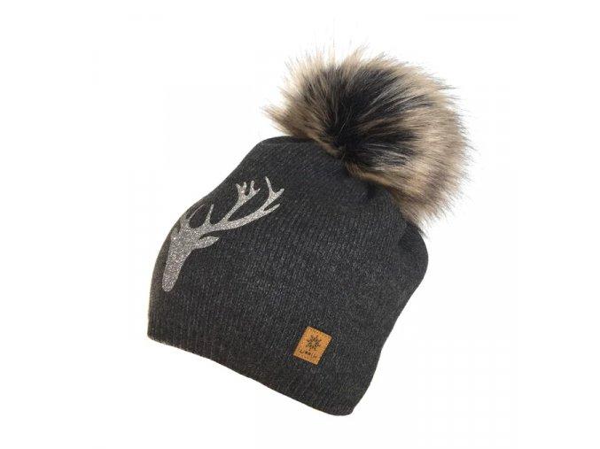 Dámské čepice s jelenem šedá