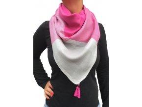Dámský lehký šátek s aplikací stříbra růžový