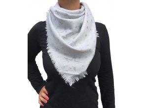 Dámský lesklý šátek s hvězdami šedý