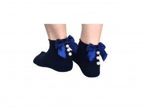 Dámské ponožky bavlněné s mašlí modré