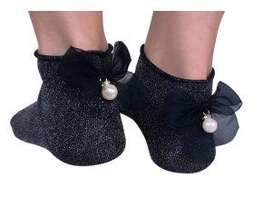 Dámské ponožky bavlněné s mašlí lesklé černé