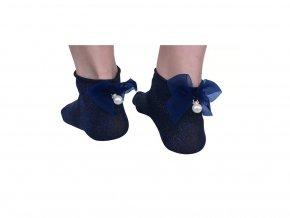 Dámské bavlněné ponožky s mašlí lesklé modré