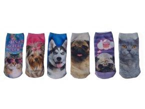 Dětské kotníkové ponožky se zvířátky 6 párů