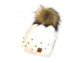 Dámská čepice s kamínky bílá