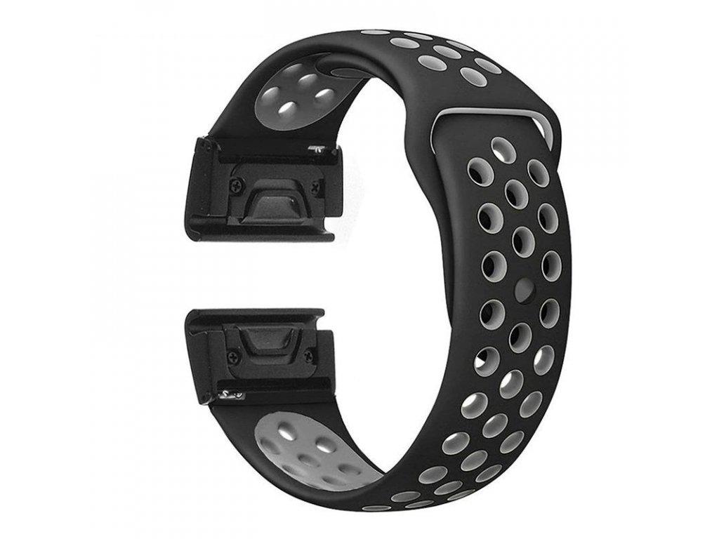 Silikonový gumový řemínek pro Garmin Fenix 26 mm SPORT černý/šedý EASYFIT/QUICKFIT