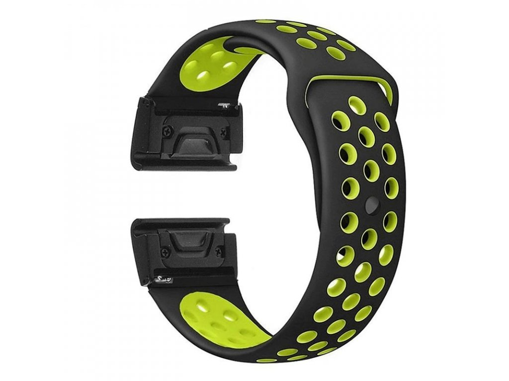 Silikonový gumový řemínek pro Garmin Fenix 22 mm EASYFIT/QUICKFIT SPORT černý/žlutý/zelený