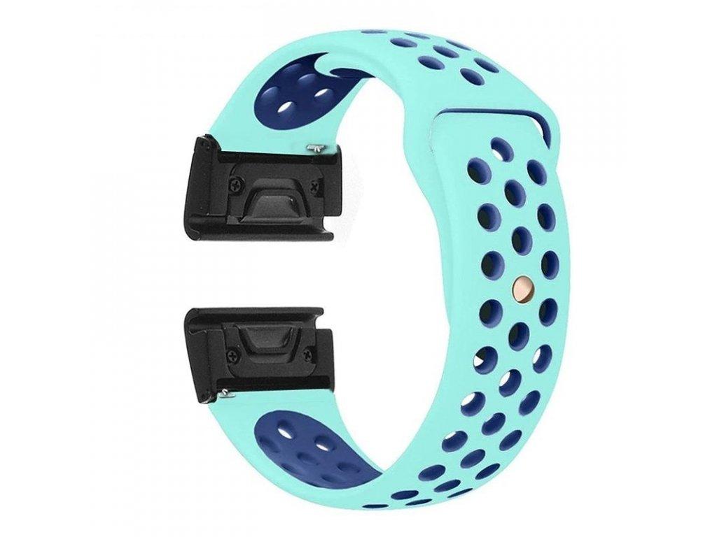 Silikonový gumový řemínek pro Garmin Fenix 22 mm SPORT tyrkysový/modrý QUICKFIT
