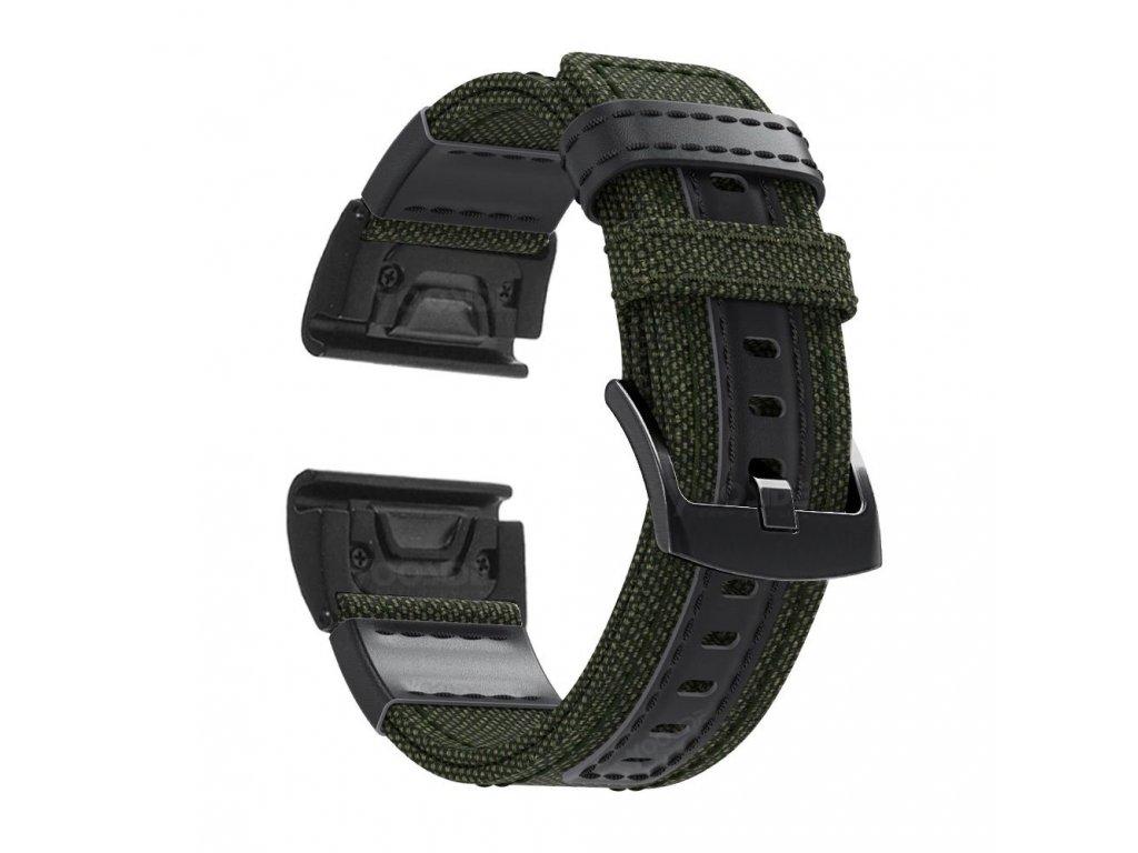 Nylonový řemínek pro Garmin Fenix 22 mm zelený EASYFIT/QUICKFIT