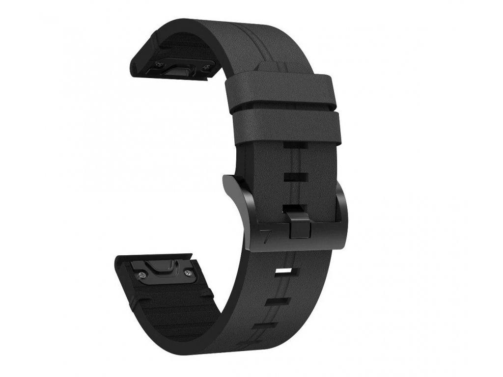 Kožený řemínek STYLE pro Garmin Fenix 26mm - černý EASYFIT/QUICKFIT
