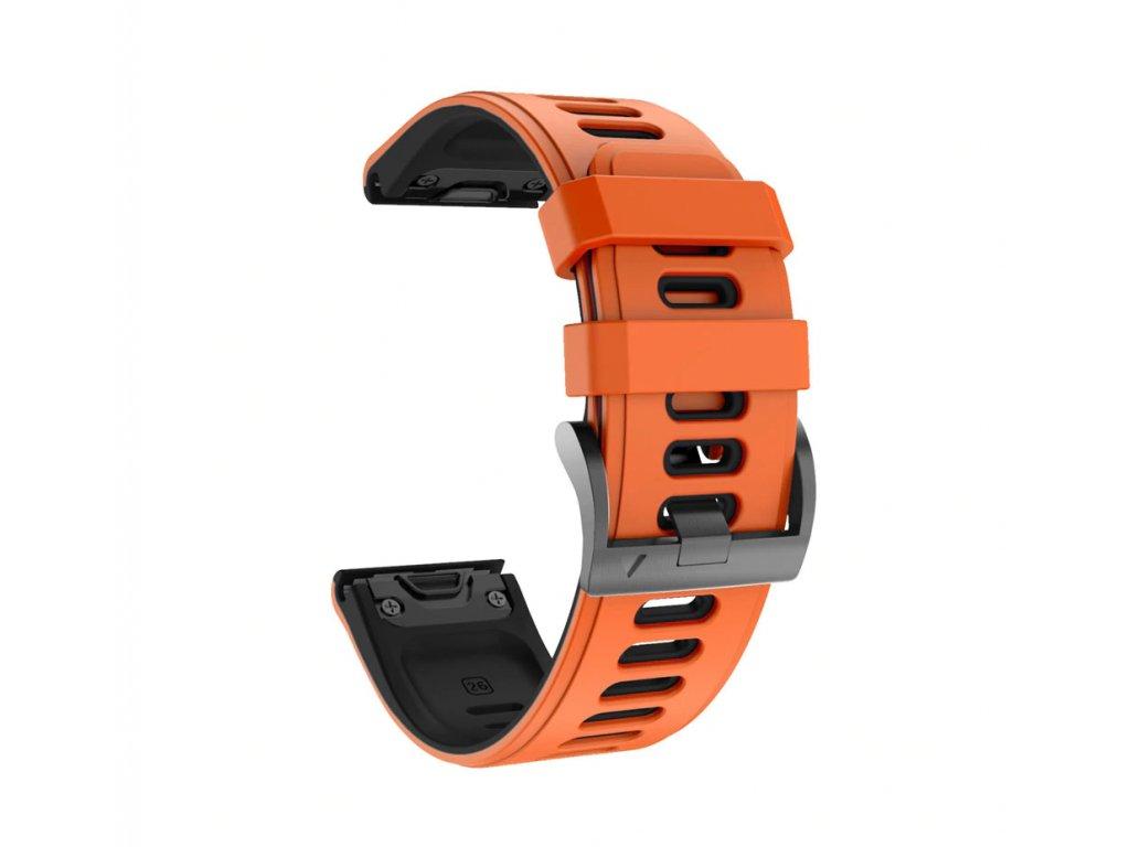 Silikonový gumový řemínek pro Garmin Fenix 26 mm COLOR oranžový/černý EASYFIT/QUICKFIT