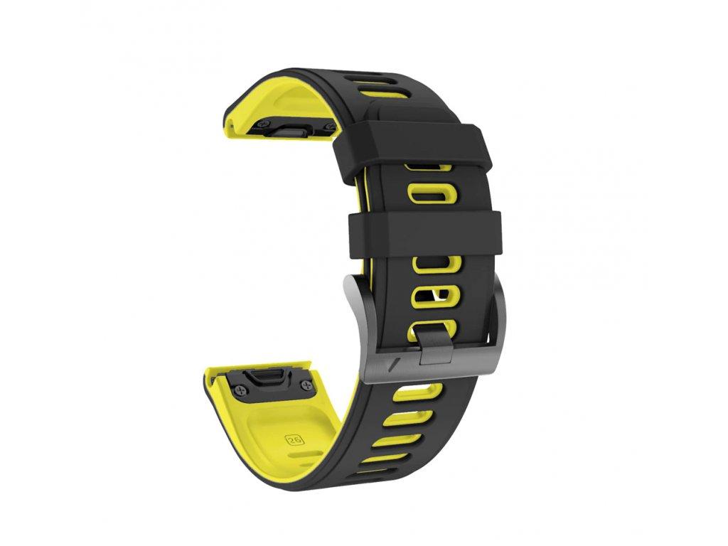 Silikonový gumový řemínek pro Garmin Fenix 26 mm COLOR černý/žlutý EASYFIT/QUICKFIT