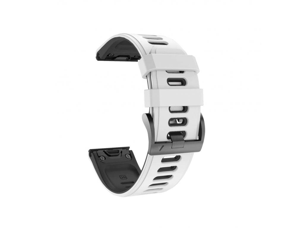 Silikonový gumový řemínek pro Garmin Fenix 26 mm COLOR bílý/černý EASYFIT/QUICKFIT