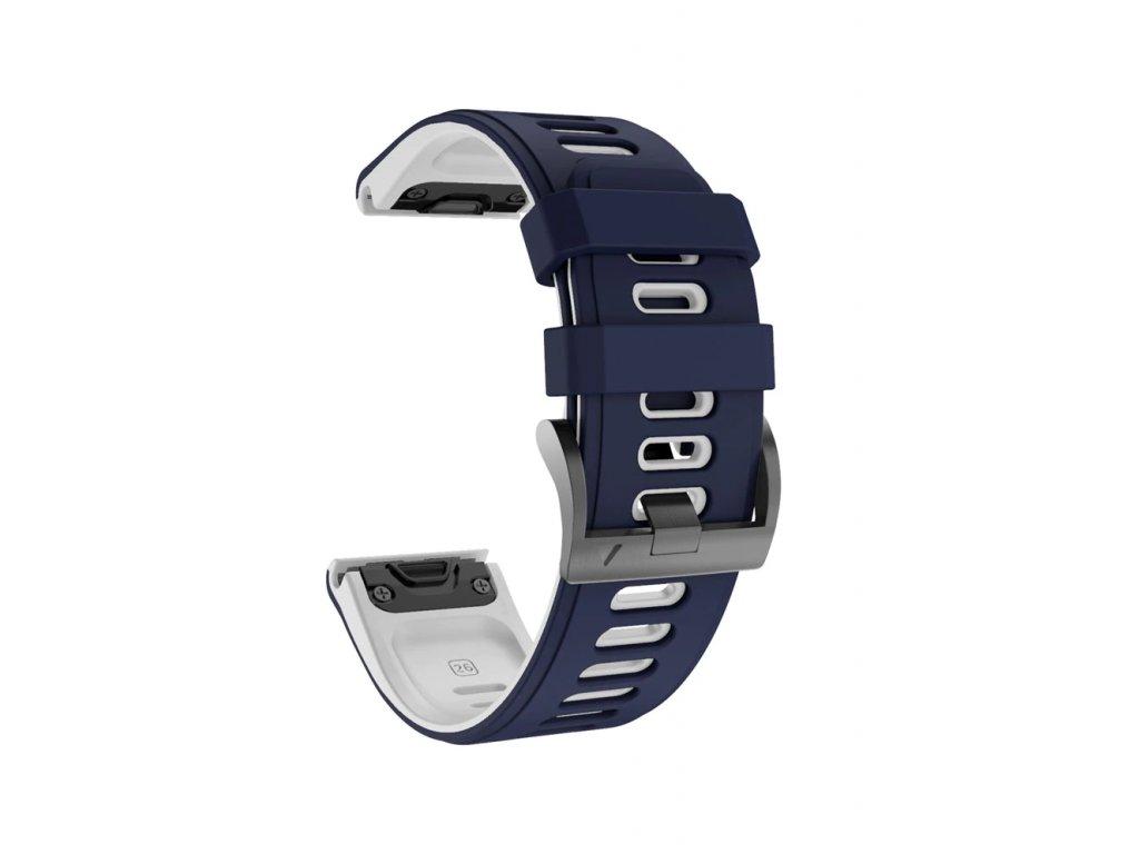 Silikonový gumový řemínek pro Garmin Fenix 22 mm COLOR modrý/bílý EASYFIT/QUICKFIT