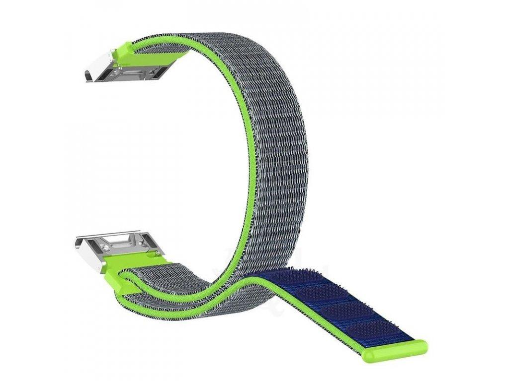 Nylonový řemínek pro Garmin Fenix 22 mm SPORT zelený EASYFIT/QUICKFIT
