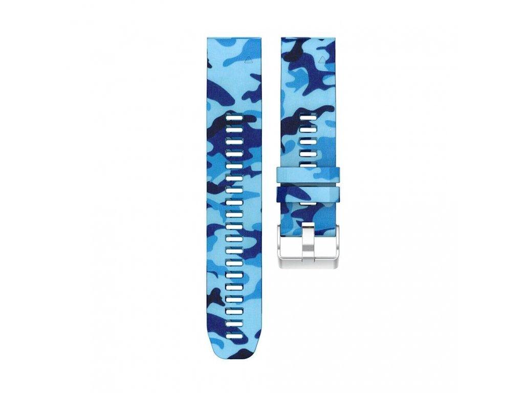 Silikonový gumový řemínek pro Garmin Fenix 22 mm CAMO maskáčový modrý EASYFIT/QUICKFIT
