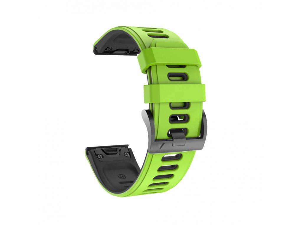 Silikonový gumový řemínek pro Garmin Fenix 5s/6s 20 mm COLOR zelený/černý QuickFit