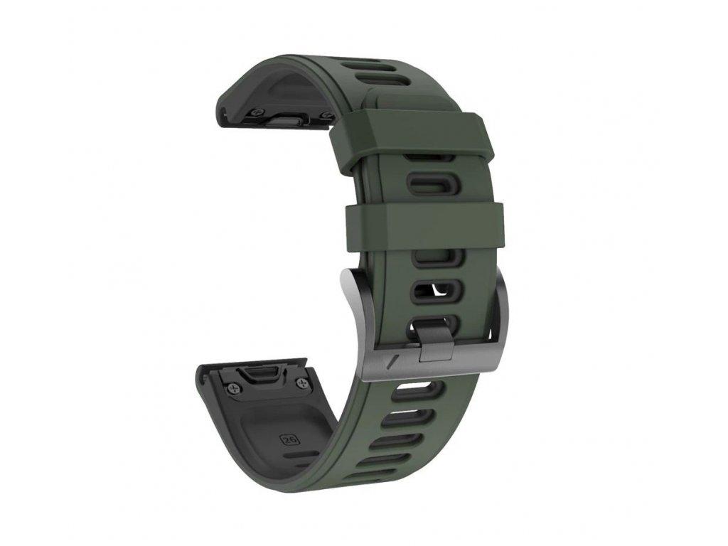 Silikonový gumový řemínek pro Garmin Fenix 26 mm COLOR army green zelený EASYFIT/QUICKFIT