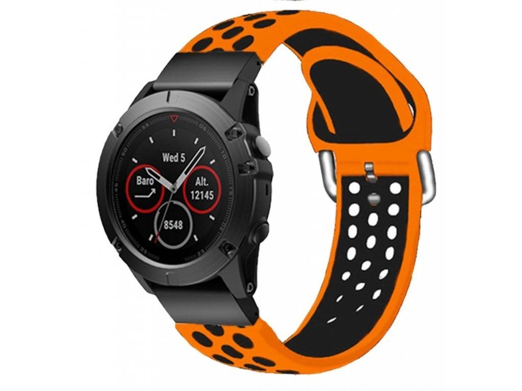 Silikonový gumový řemínek pro Garmin Fenix 26 mm SPORT V2 oranžový/černý EASYFIT/QUICKFIT