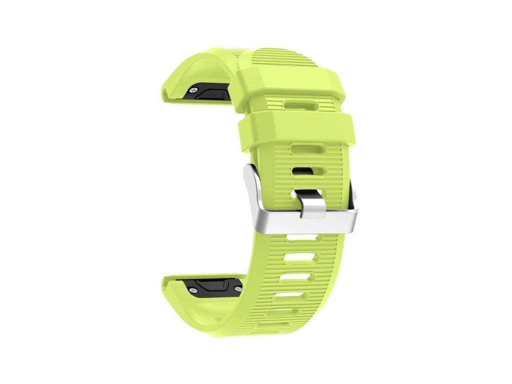 Silikonový gumový řemínek pro Garmin Fenix 26 mm soft zelený EASYFIT/QUICKFIT