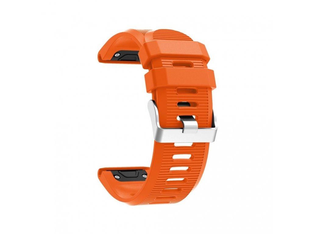 Silikonový gumový řemínek pro Garmin Fenix 26 mm soft oranžový EASYFIT/QUICKFIT