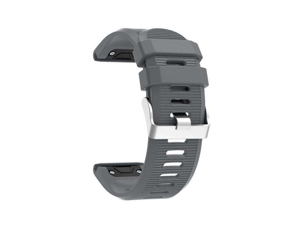 Silikonový gumový řemínek pro Garmin Fenix 26 mm soft šedý EASYFIT/QUICKFIT