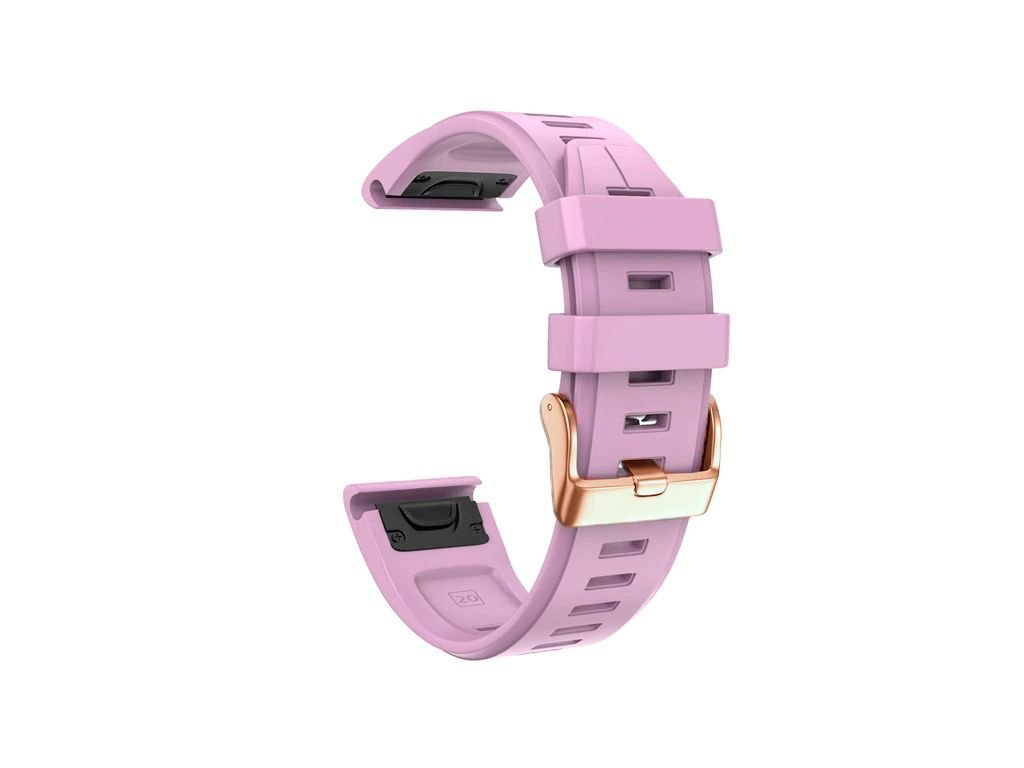 Silikonový gumový řemínek pro Garmin Fenix 5s/6s 20 mm LINE růžový QuickFit rose gold růžová přezka