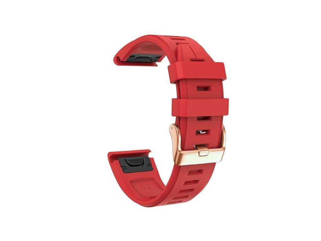 Silikonový gumový řemínek pro Garmin Fenix 5s/6s 20 mm LINE červený QuickFit rose gold růžová přezka