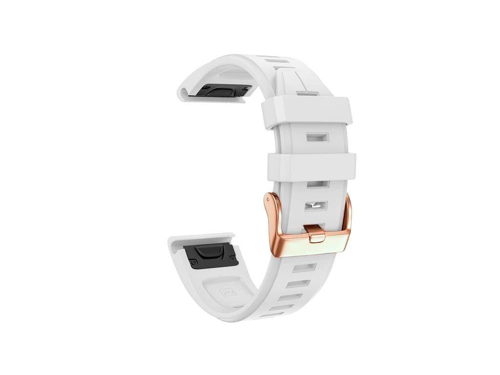 Silikonový gumový řemínek pro Garmin Fenix 5s/6s 20 mm LINE bílý QuickFit rose gold růžová přezka