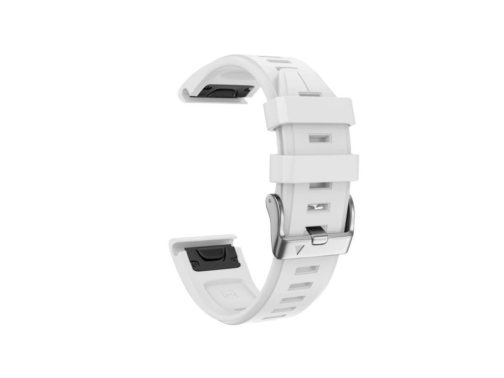 Silikonový gumový řemínek pro Garmin Fenix 5s/6s 20 mm LINE bílý QuickFit stříbrná přezka