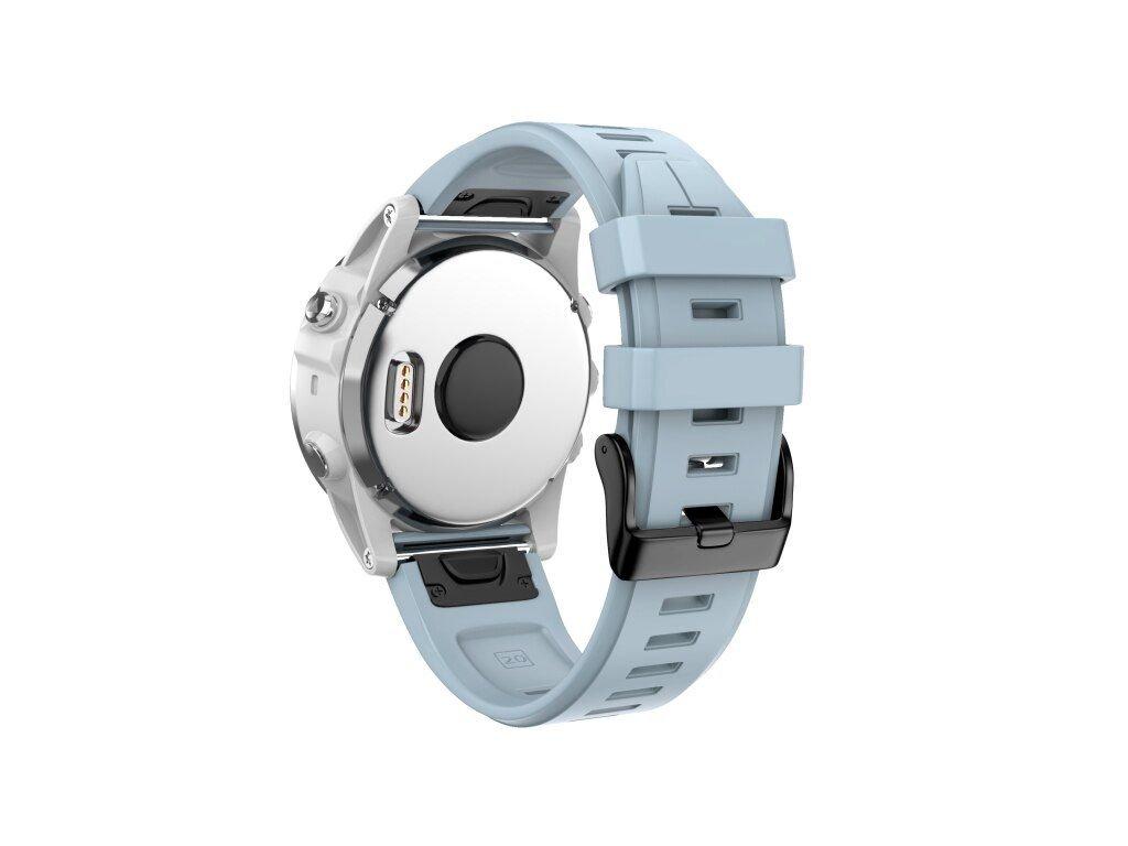 Silikonový gumový řemínek pro Garmin Fenix 5s/6s 20 mm LINE sea modrý QuickFit černá přezka