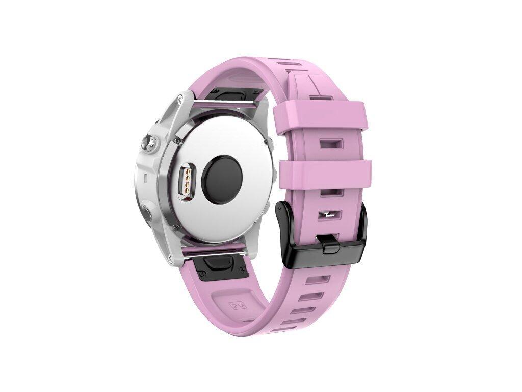 Silikonový gumový řemínek pro Garmin Fenix 5s/6s 20 mm LINE růžový QuickFit černá přezka