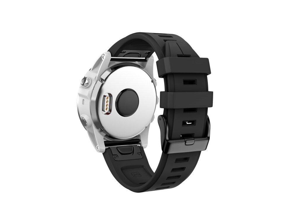 Silikonový gumový řemínek pro Garmin Fenix 5s/6s 20 mm LINE černý QuickFit černá přezka