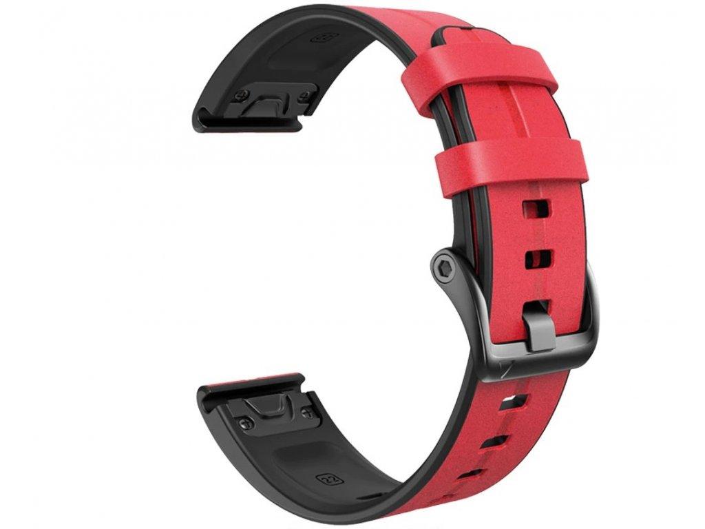 Kožený silikonový řemínek COMFORT červený pro Garmin Fenix 22mm EASYFIT/QUICKFIT