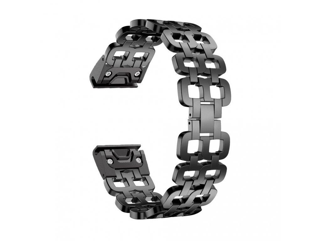 Kovový řemínek EYE pro Garmin Fenix 26 mm černý QuickFit