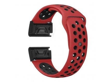 Silikonový gumový řemínek pro Garmin Fenix 26 mm SPORT červený/černý EASYFIT/QUICKFIT